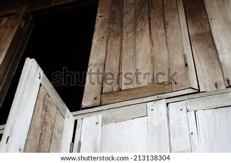 beautiful old school Thai style wooden window - stock photo