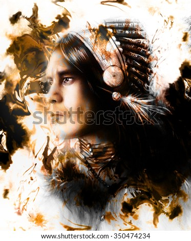 beautiful painting of a young indian warrior wearing a gorgeous feather headdress, profile portrait, r abstract color background, White, black and brown color.