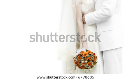beautiful red Wedding bouquet on white backgroand - stock photo