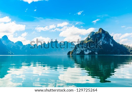 Beautiful reflecting mountain and glaciers in Thailand. - stock photo