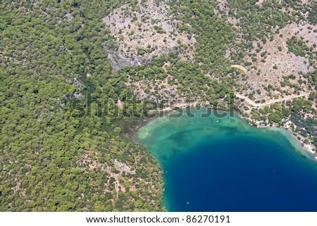 Beautiful sea beach  , sand and turquoise water - stock photo