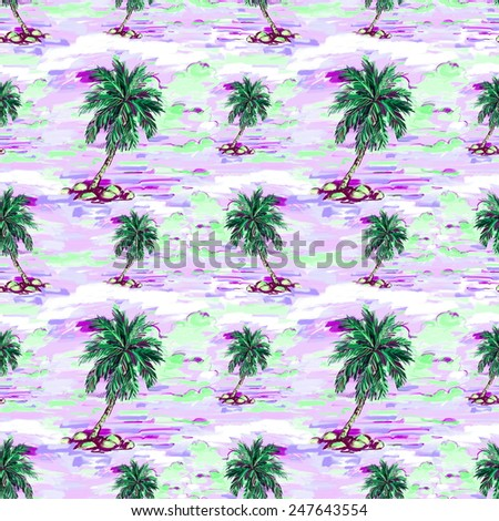 Beautiful seamless floral pattern background. Landscape with palm trees - stock photo
