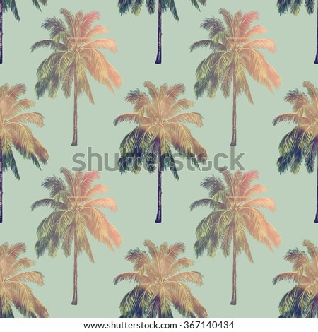 Beautiful seamless floral tropical pattern background with palm trees - stock photo