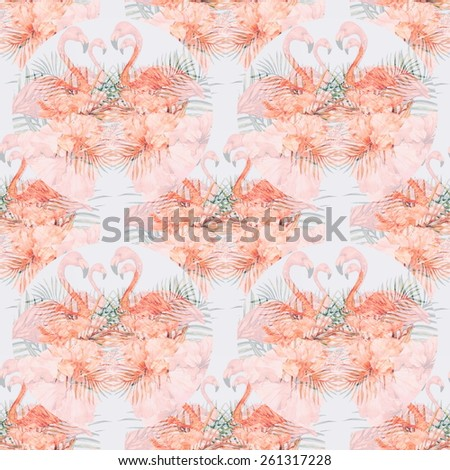 Beautiful seamless retro floral pattern background with watercolor pink flamingos, tropical flowers and palm leaves