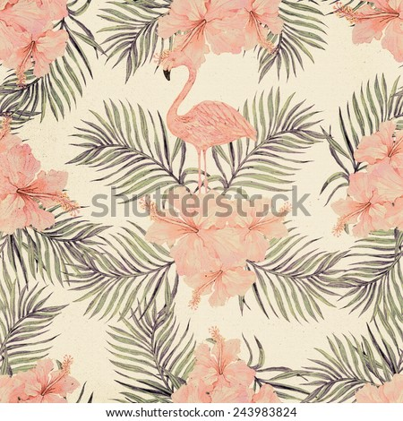 Beautiful seamless vintage floral pattern background with watercolor pink flamingos, tropical flowers and palm leaves, hibiscus - stock photo