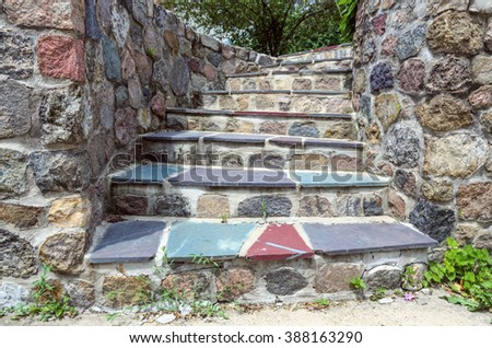 Beautiful Stone Steps with Colorful Stones Outdoors - stock photo