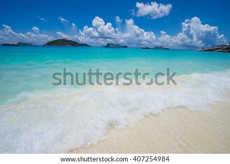 ??Beautiful tropical white sand beach in Thailand,Similan island - stock photo