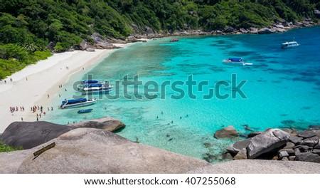 ?Beautiful tropical white sand beach in Thailand,Similan island - stock photo