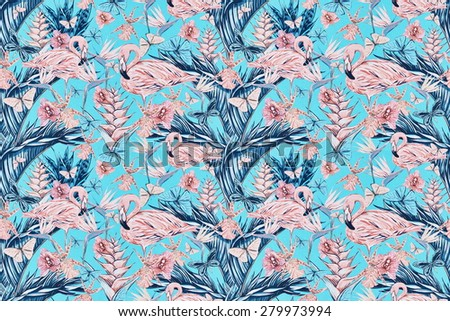 Beautiful vintage seamless floral jungle pattern background. Colorful watercolor tropical flowers, palm leaves and plants, butterflies, bird of paradise flower with pink flamingos, exotic print - stock photo