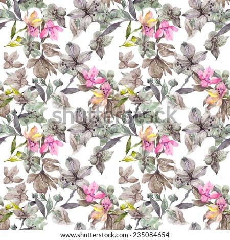 Beautiful Watercolor Alstroemeria  flowers seamless pattern. - stock photo