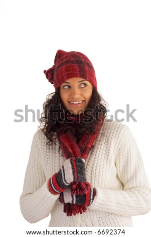 beautiful winter girl isolated on white background