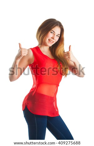 beautiful woman in red with a gesture super - stock photo