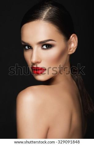 Beautiful woman portrait, beauty on dark background - stock photo