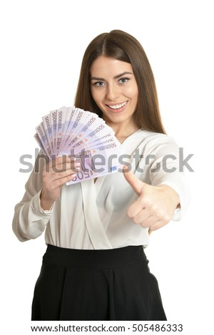 Beautiful woman with money