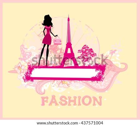 beautiful women Shopping in Paris  card  - stock photo