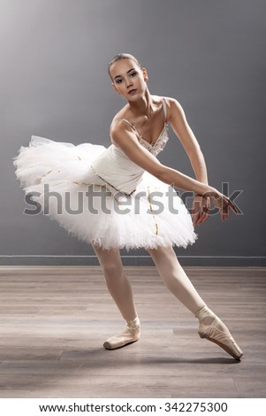 beautiful young ballerina in ballet pose classical dance - stock photo