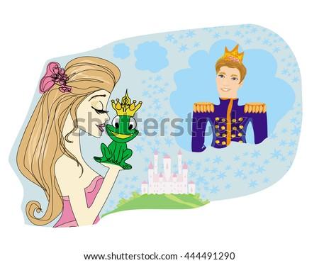 Beautiful young princess kissing a big frog  - stock photo