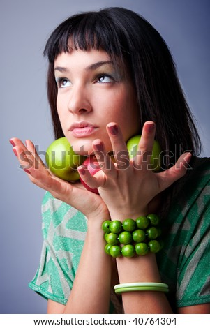 beautiful young woman with fresh apple, natural beauty artistic portrait.
