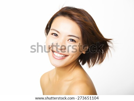 beautiful young woman with the flying hair