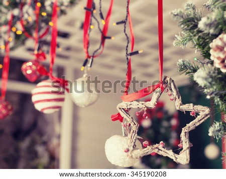 Beautifully decorated Christmas interior. House decorated to christmas celebration   - stock photo