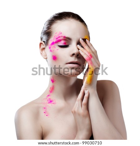 .Beauty face of beautiful woman with clean fresh skin. Body art. - stock photo