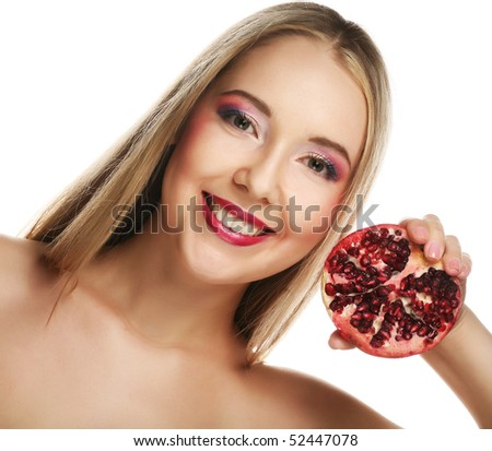 Beauty young woman with fresh red pomegranate