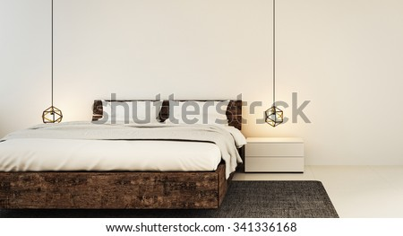 Bedroom interior for modern home and hotel bedroom / 3D render image - stock photo