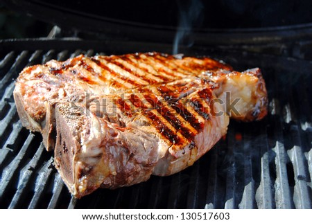 Beef steak on a barbecue grill.Florence t-bone beef steak.Tuscan cuisine.