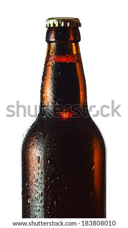 beer bottle isolated on white background , saved clipping path - stock photo