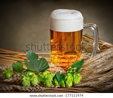beer glass and hops - stock photo