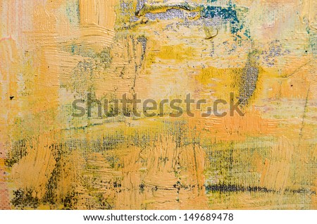 Beige and Yellow Abstract Art Painting - stock photo