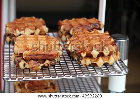 Belgian waffles Gaufres - stock photo