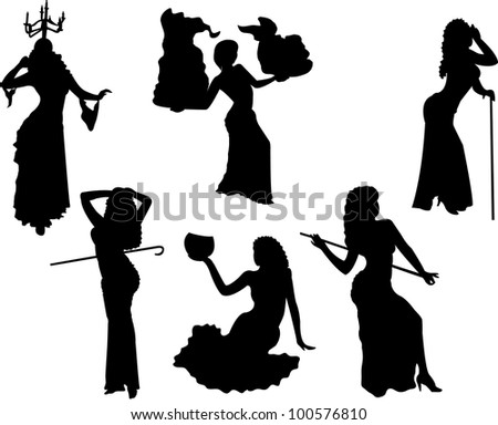 belly dancing black woman silhouette dancing with various objects on white - stock photo