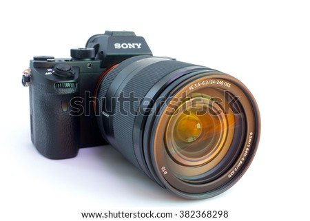 27. 10. 2015, BERLIN, GERMANY:  Sony Alpha a7R II ILCE-7RM2 Mirrorless Digital Camera Body and lens. With a world's first full-frame 42.4-megapixel Exmor R back-illuminated CMOS sensor