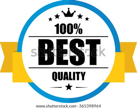 100% Best quality guarantee blue, Button, label and sign. - stock photo