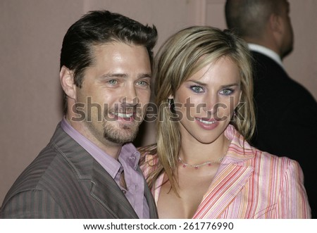 03/15/2005 - Beverly Hills - Jason Priestley and Naomi Lowde at the Hugo Boss Fall Winter 2005 Men's and Women's Collections Party and Fashion Show - Arrivals at The Beverly Hills Hotel. - stock photo