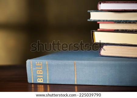 bible and books in the church - stock photo