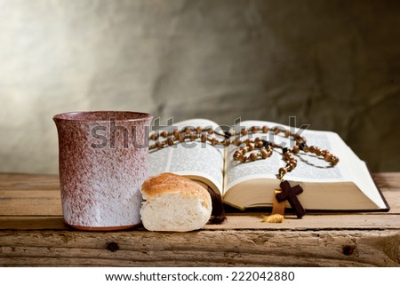 bible and prayer beads - stock photo