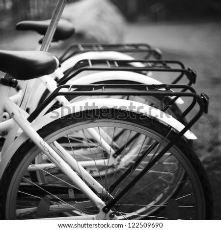 bicycles close up - stock photo