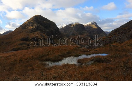 Bidean nam Bian is the whole majestic range of mountains on the south side of Glen Coe. It's dramatic northern ridges are known as the Three Sisters.