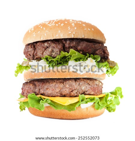 Big hamburger isolated on white background