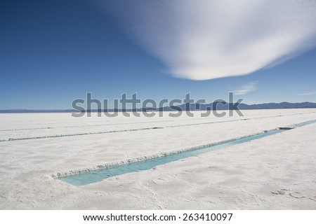 'Big Salinas' is the name of a neighboring flat desert of salt in the Argentine provinces of Salta and Jujuy, located in the Puna de Atacama, in the Argentine Northwest.