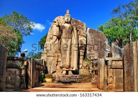 Big statue of Buddha - Awukana , Sri lanka  - stock photo