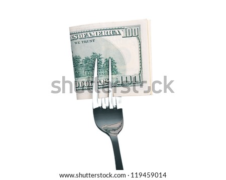 $ 100 bill on a fork, isolated on white.