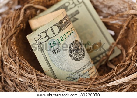 $20 bill representing your retirement nest egg. - stock photo