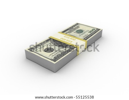 $100 bills  isolated on white