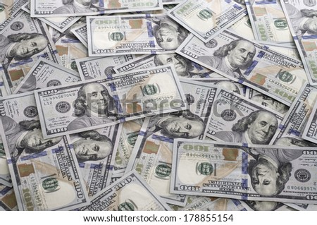 $100 Bills Scattered - stock photo