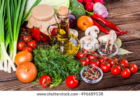 Bio Healthy food, herbs and spices. Organic vegetables on wood