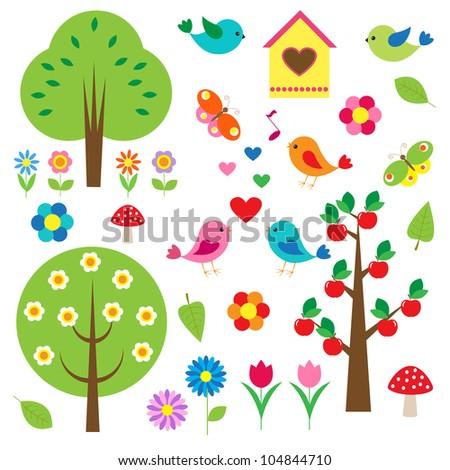 Birds and trees. Raster version - stock photo