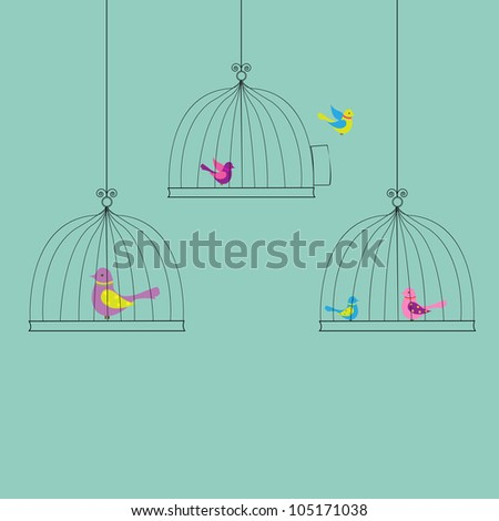 6 Birds in Cage, Isolated On Vintage Background